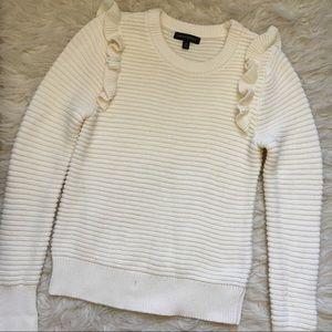 Banana Republic Knit Cream Ruffle Sweater